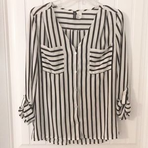 Divided White and black striped dress blouse